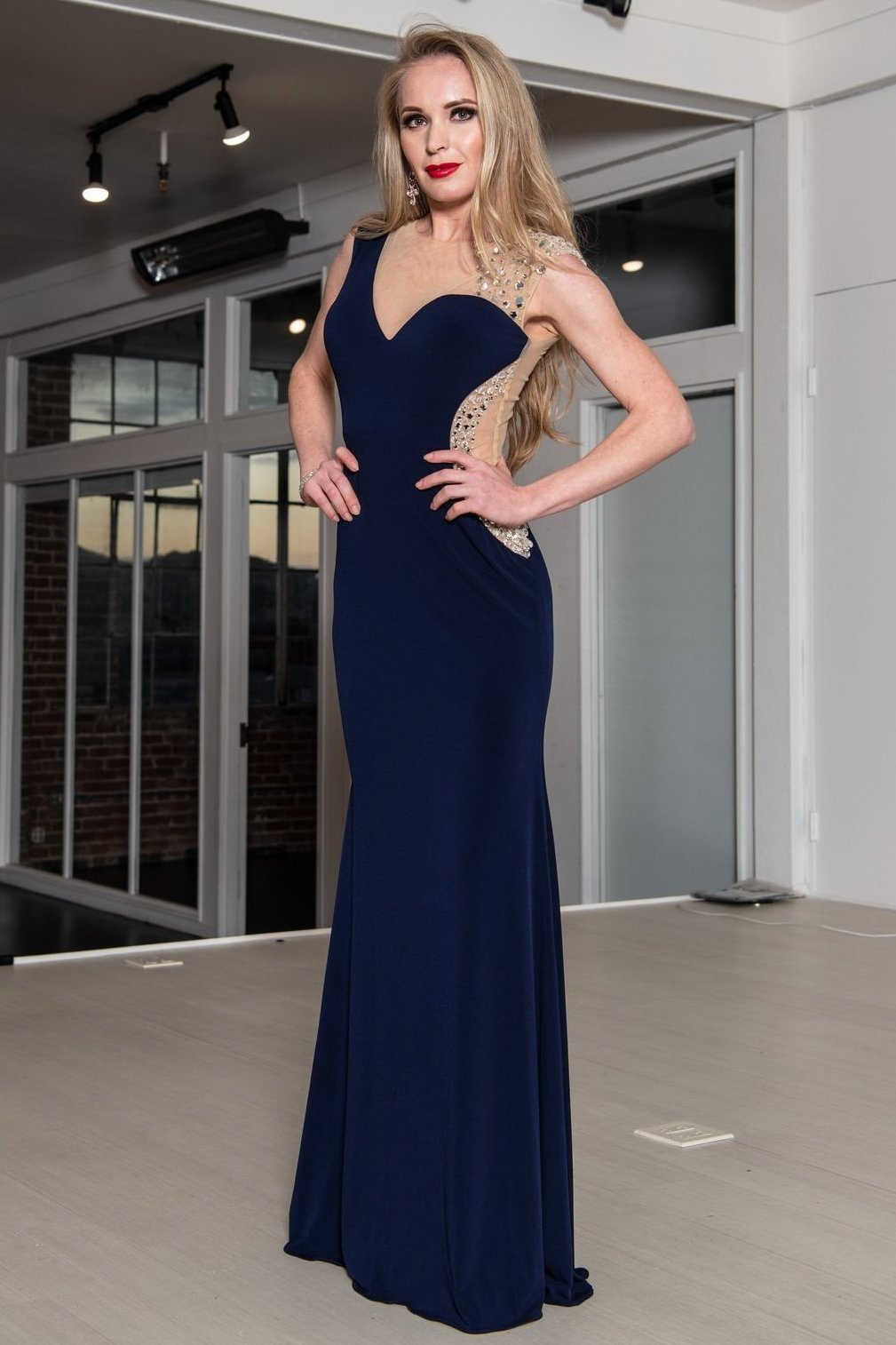 Fitted Jovani Gown with Rhinestones