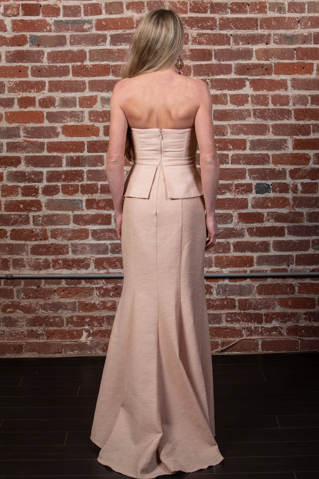 Gracie Strapless Peplum Gown