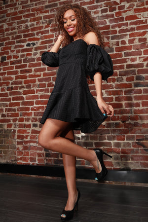Off Shoulder Sweetheart V-Neck Ruffle Mini Dress