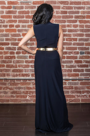 Belted Mock Neck Sheath Gown