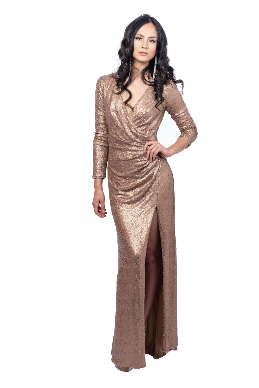 Sequined Faux-Wrap Gown