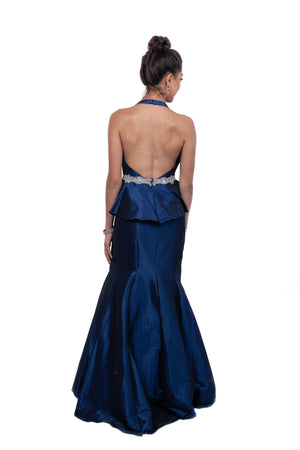Deep Plunge Peplum Embellished Gown