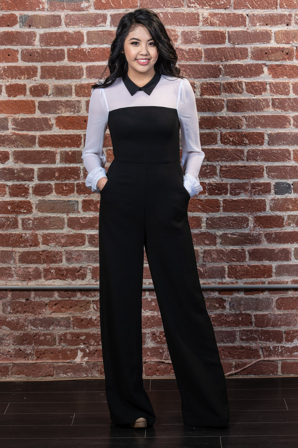 Color-Block Wide-Leg Jumpsuit