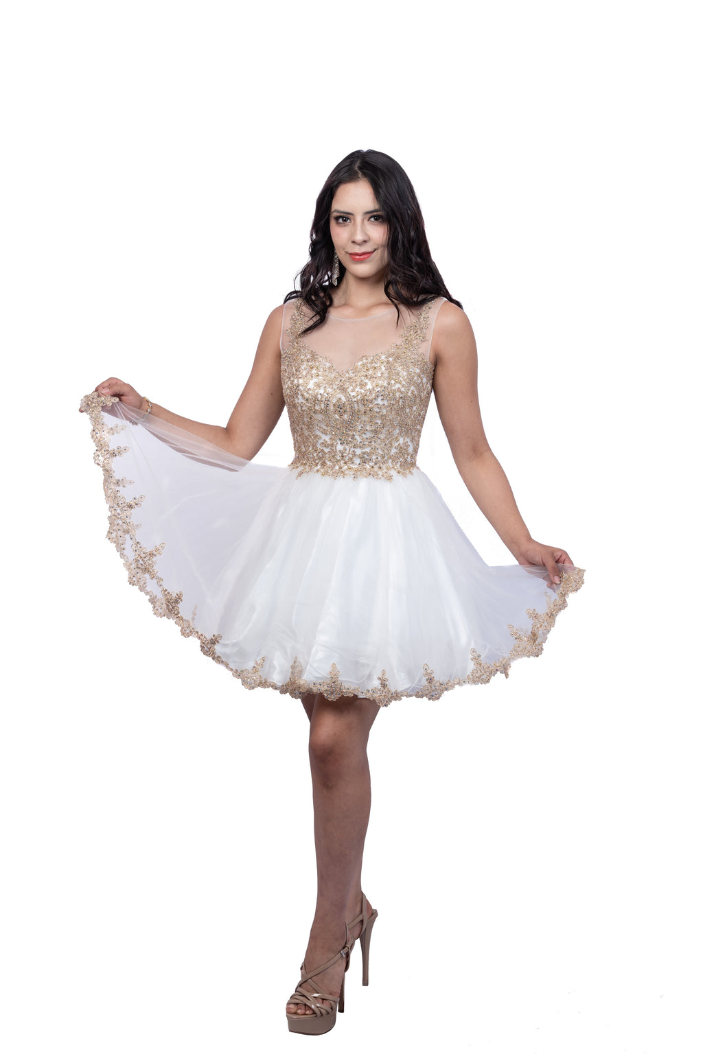 Junior Sleeveless Short Dress with Beaded Illusion Bodice