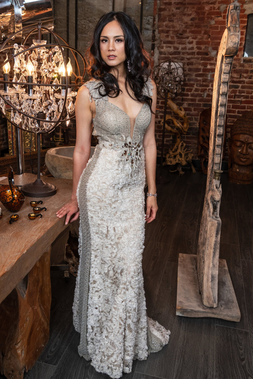 Embellished Lace Statement Gown