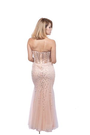 Petite Strapless Beaded Gown