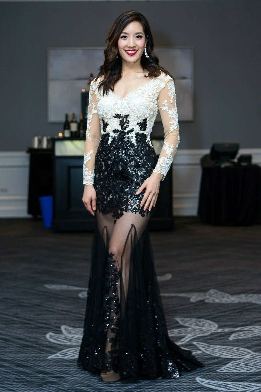 Sexy V-Cut Sequin 3/4 Sleeve Gown