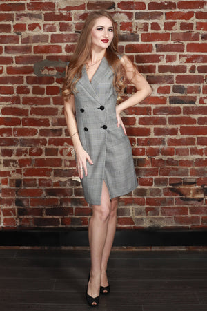 Plaid Double Breasted Sleeveless Blazer Dress