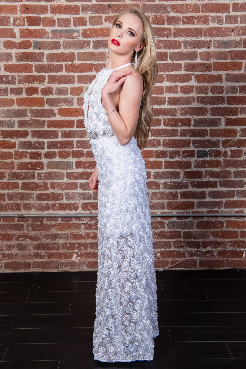 Halter Keyhole Sheer Gown