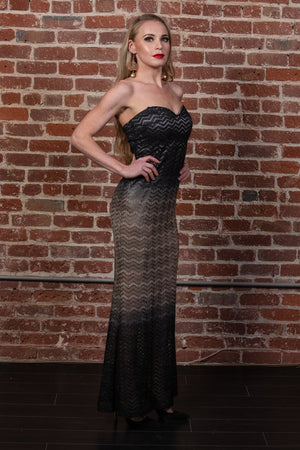 Metallic Strapless Glittered Gown