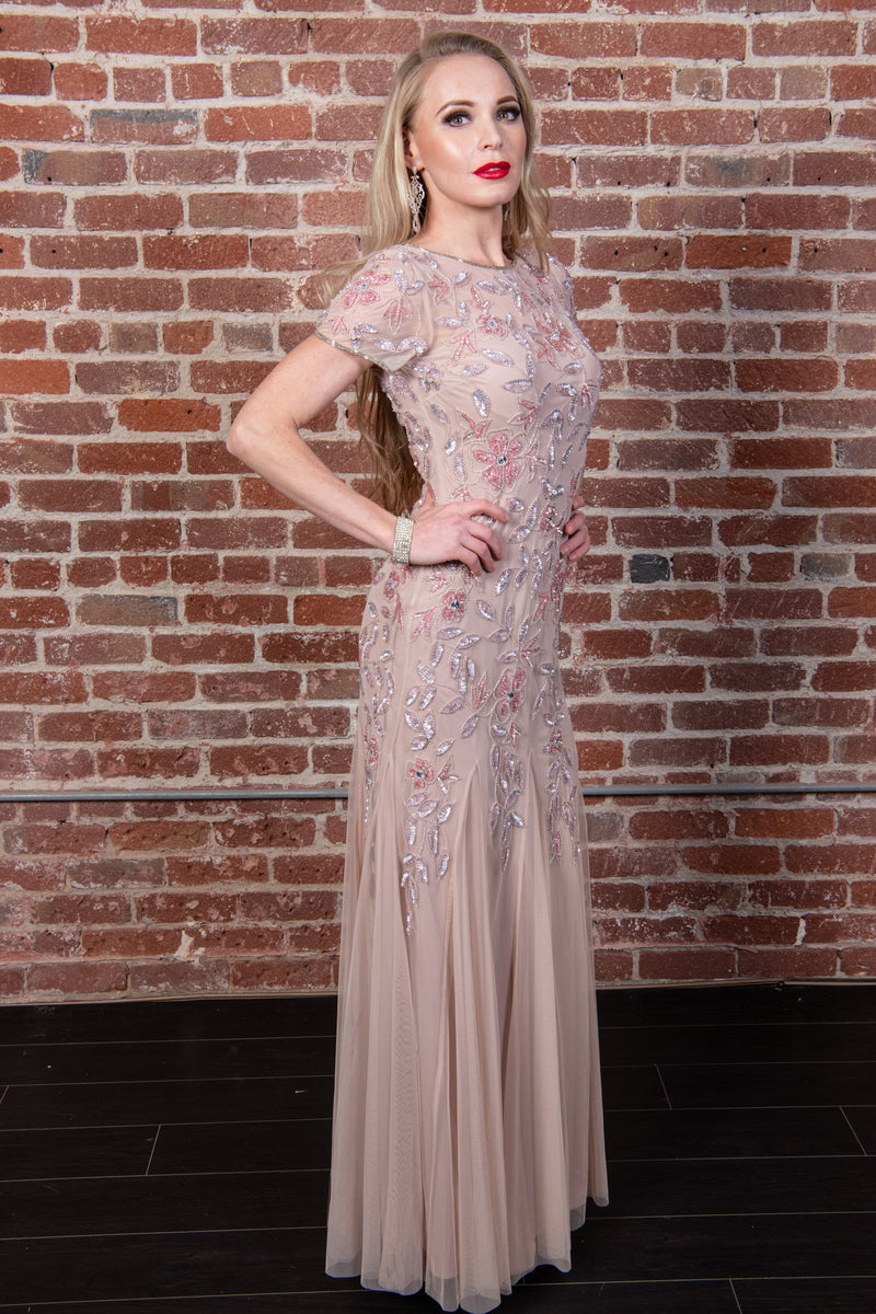 Short-Sleeve Beaded Gown
