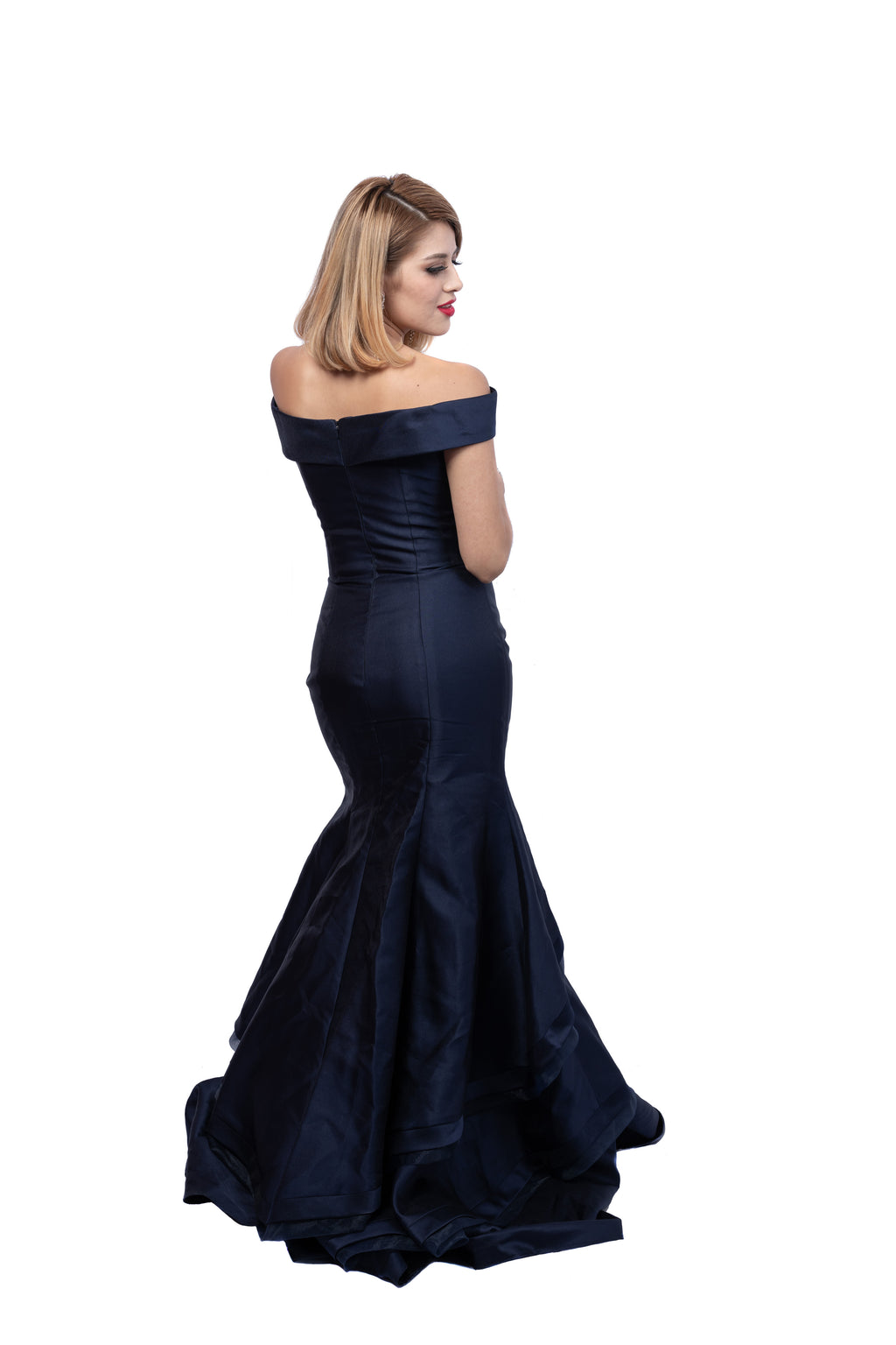 Fancy Off The Shoulder Satin Mermaid Gown