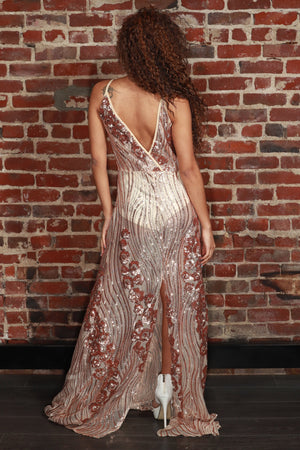 Sheer Sequined Strappy Gown