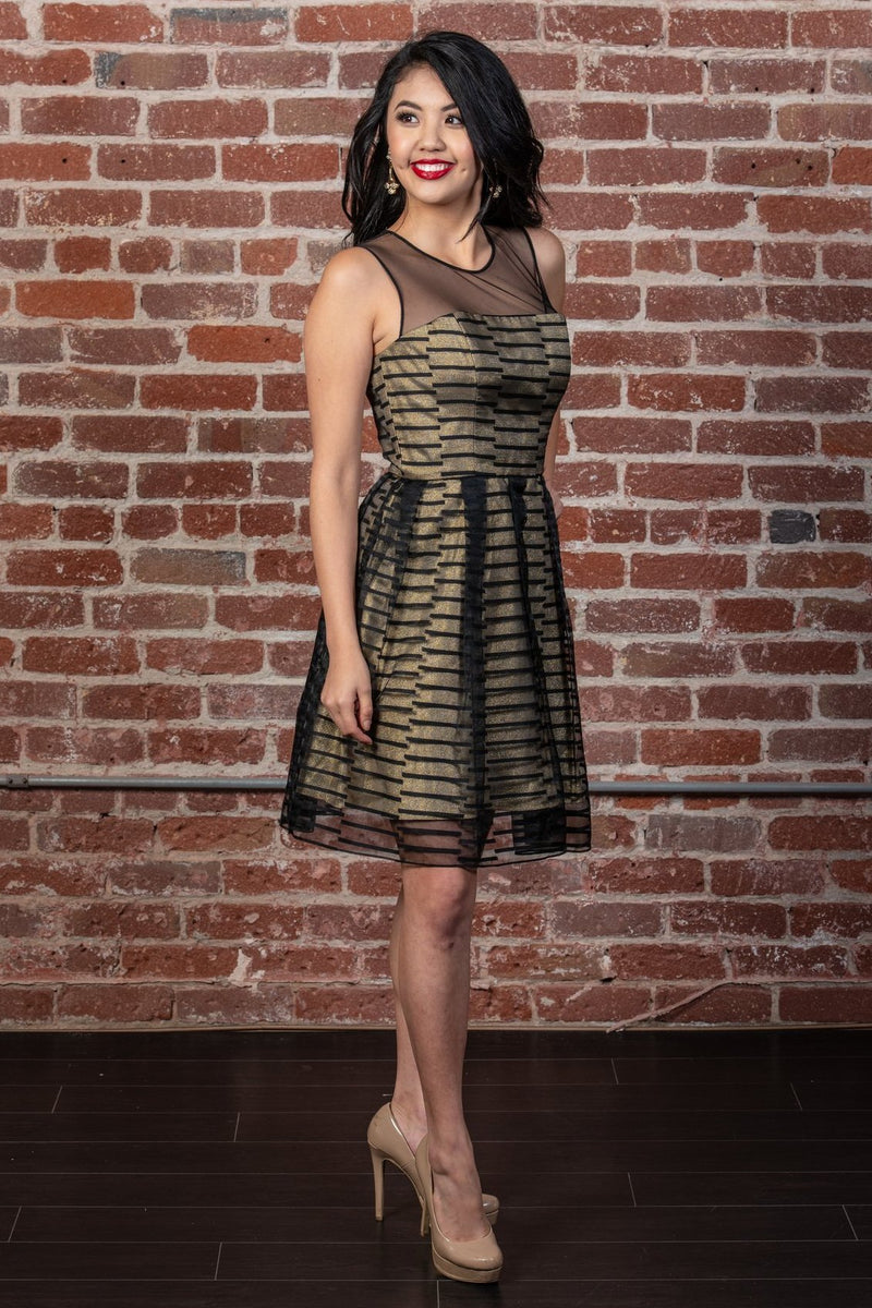 Metallic Stripe Fit-and-Flare Dress