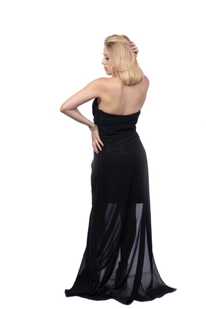 Strapless Sheer Overlay Dress