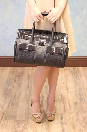 Ostrich Handbag with Alligator Trim