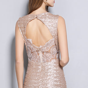 Sleeveless Keyhole Back Runway Dress
