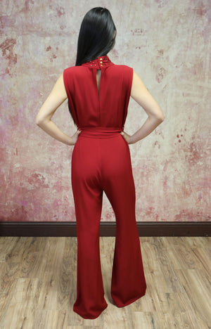 Jumpsuit with Embellished Neckline