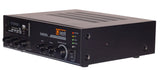 Angle View Quest 65W Small Footprint Mixer Amplifier + Tuner/Media Player Showing Inputs / Outputs