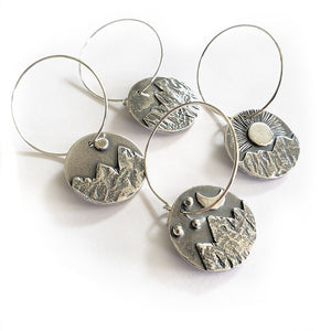 Mountain Scene Wine Charms