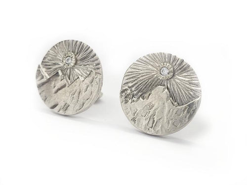 Cubic Zirconia Sun over Mountains - Cuff Links