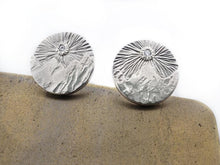 Load image into Gallery viewer, Cubic Zirconia Sun over Mountains - Cuff Links