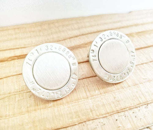 Cuff links - Latitude and Longitude Sterling Silver