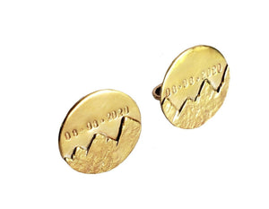 Mountains - Custom Date and Initials - Cuff Links