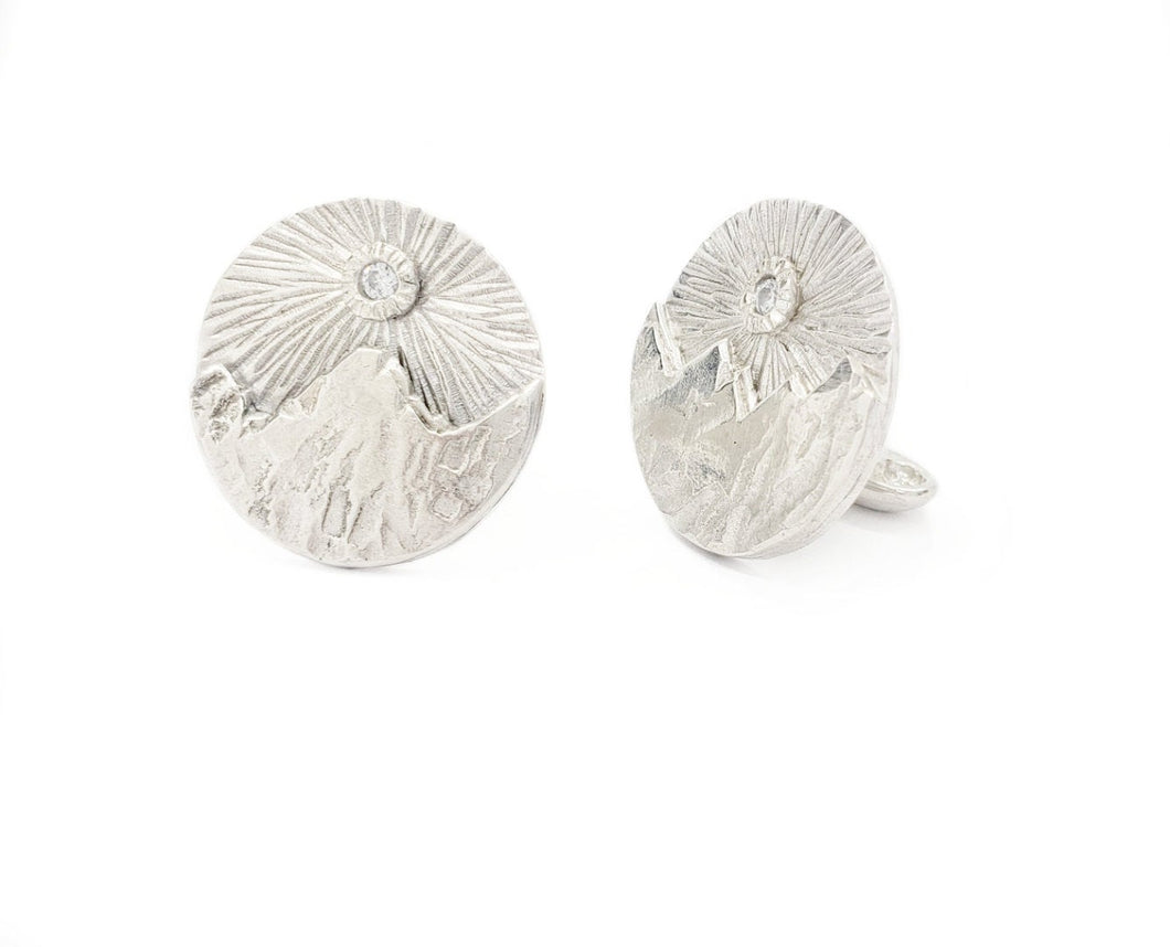 Cuff Links - Sunrays over Mountains - Sterling Silver