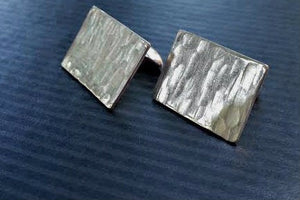 Tree Bark - textured cufflinks rectangular - All Sterling Silver