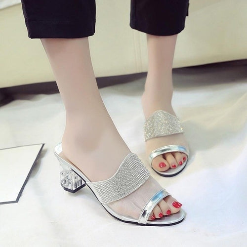 High Quality Women Flats Rhinestone Summer Open