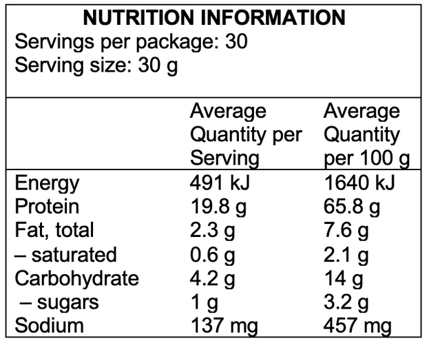 Lean Clean Vegan Protein Nutritional Information