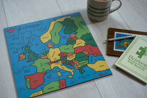 A completed Wooden Jigsaw Puzzle of the Countries of Europe.