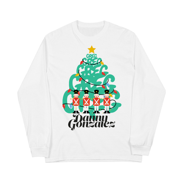 """Greg Tree"" White Long Sleeve Tee"