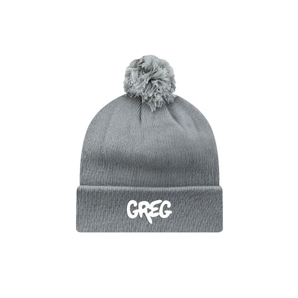 GREG V2 EMBROIDERED GREY POM HAT