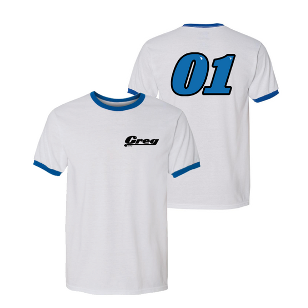 TEAM GREG RINGER T-SHIRT (WHITE/BLUE)