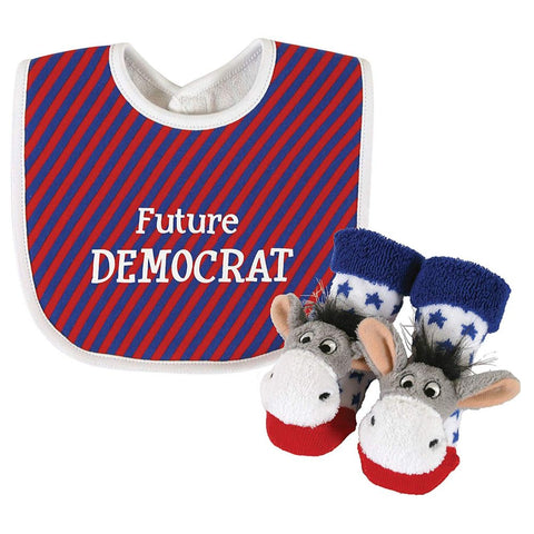 Future Democrat Baby Bib and Donkey Rattle Socks Gift Set