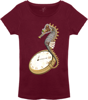 Steampunk Seahorse T-Shirt Ladies - Red Line