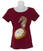Steampunk Seahorse T-Shirt Ladies - Red Line - Hippocampus
