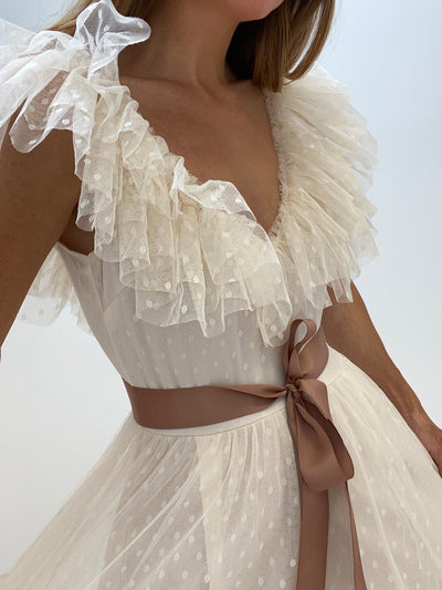Grace Tulle Frill Dress | Ivory