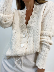 Mable Embellished Lace Knit Cardigan | Winter Ivory