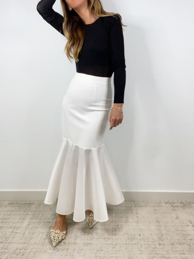 Sienna Cocktail Contrast Skirt | Alabaster White