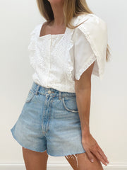 Athens Wrap Sleeve Blouse | White
