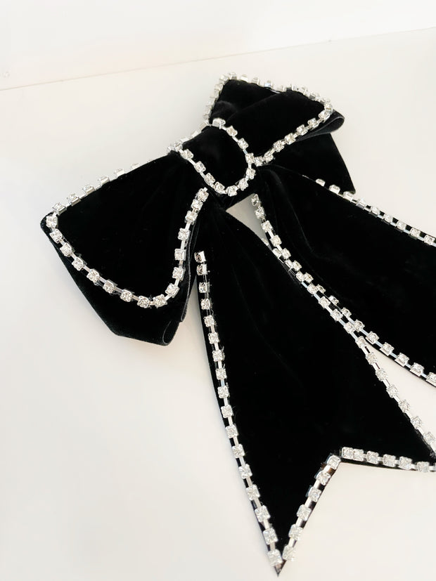 Yvette Velvet & Diamond Hair Bow | Black