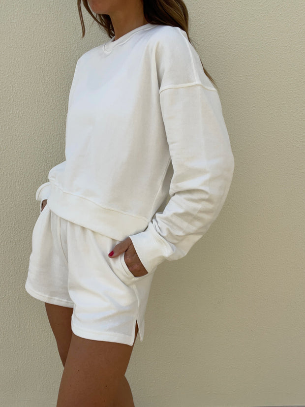 Farrah French-Terry On Repeat Sweat Set | White