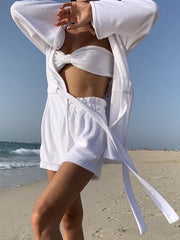 Terry Belted Beach Cover Up | Coconut White