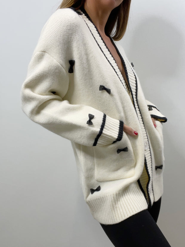 Annie Bow Cardigan | Cream