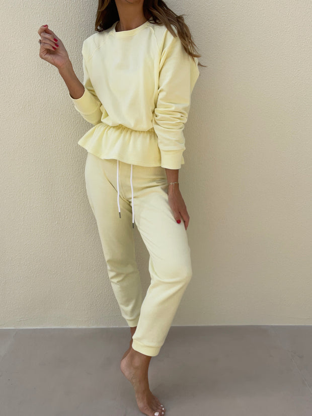 Lois French-Terry Fancy Peplum Sweatshirt | Lemon Sorbet