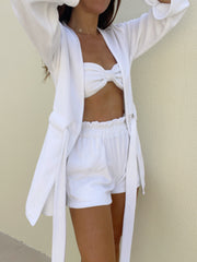 Terry High Waist Beach Shorts | Coconut White