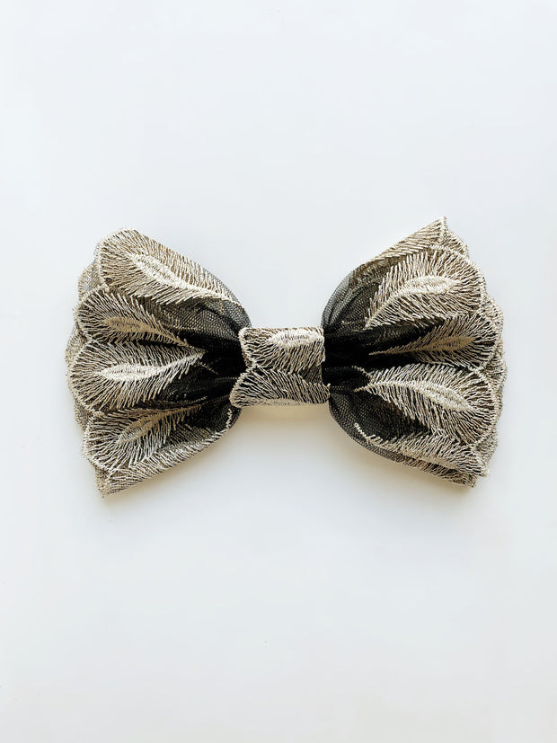 Alice Embroidered Hair Bow | Black